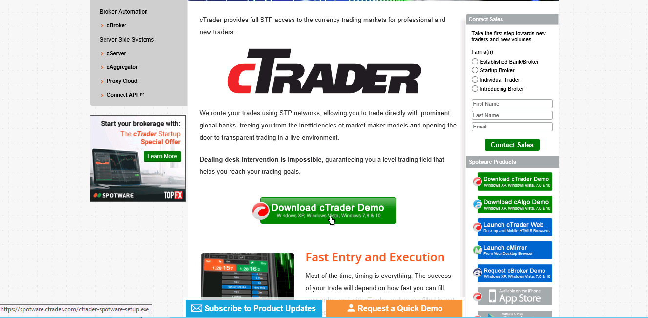 cTrader download page