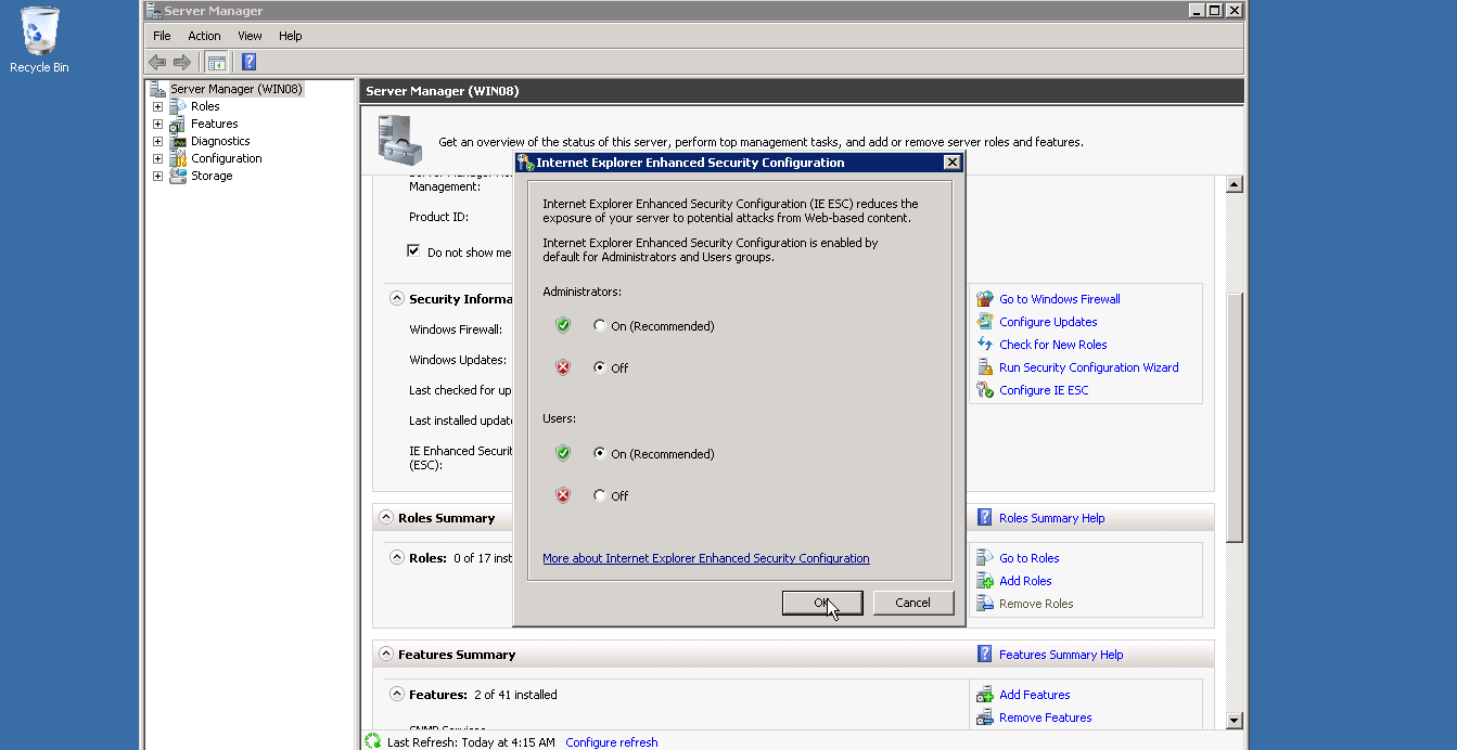 turn off Internet Explorer Enhanced Secutiy Configuration