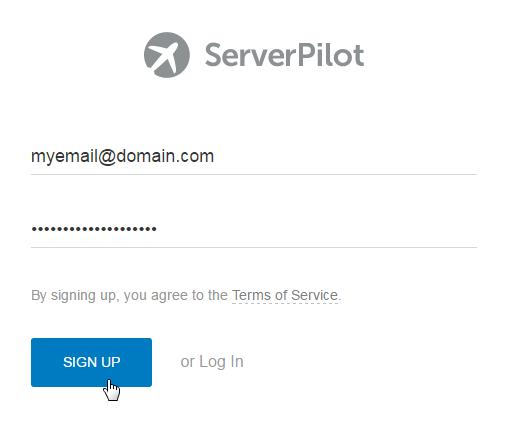 ServerPilot Signup page