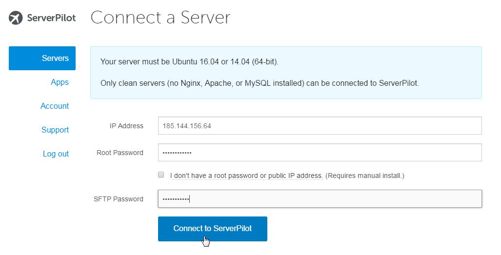 Connect server to ServerPilot