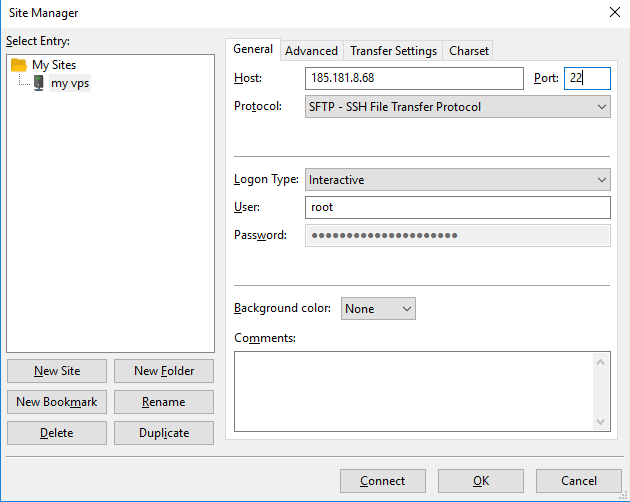 Using SFTP protocol to access file on your VPS with