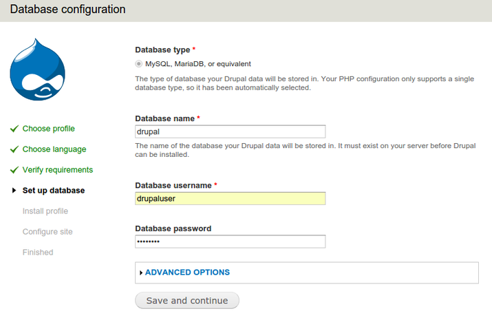 Druapl database configuration page