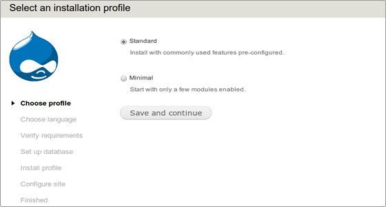 Drupal installation profile page